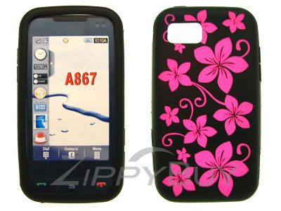 Samsung Eternity SGH-A867 Silicone Skin Cover Case - Hot Pink Flowers