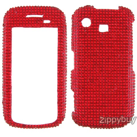Samsung Impression A877 Full Rhinestones Bling Hard Case - Red