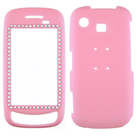 Samsung Impression A877 Rubberized Hard Cover Case - Pink Crystal Bling