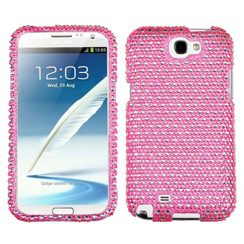 Pink Dots Crystal Rhinestones Bling Case for Samsung Galaxy Note II