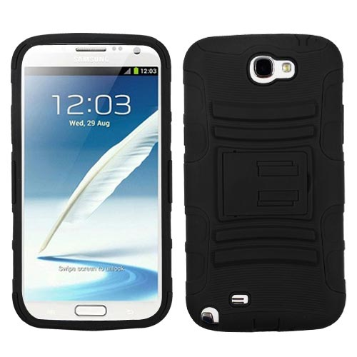 Black Hybrid Armor Case for Samsung Galaxy Note II