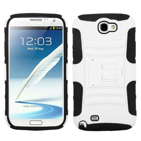 White Hybrid Armor Case for Samsung Galaxy Note II