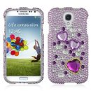 Purple Hearts Crystal Rhinestones Bling Case for Samsung Galaxy S4