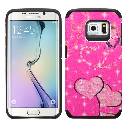 Glitter Butterfly Heart Hybrid Unity Case for Samsung Galaxy S6 Edge