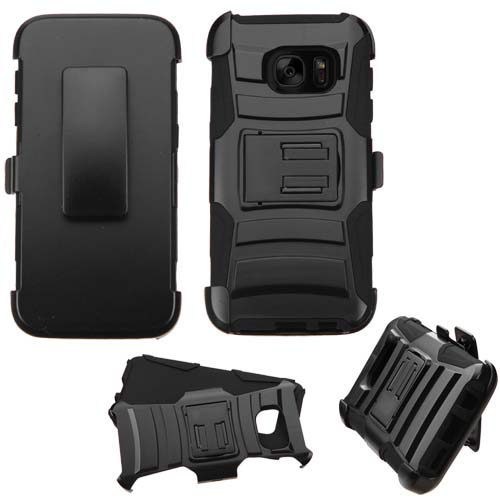 Black Armor Hybrid Case + Holster for Samsung Galaxy S7