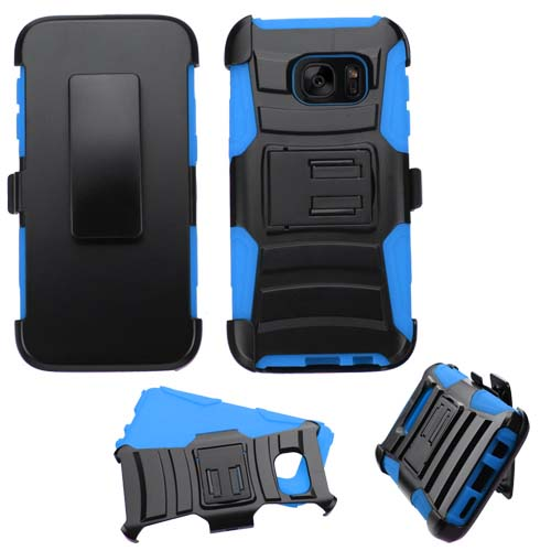 Blue Armor Hybrid Case + Holster for Samsung Galaxy S7