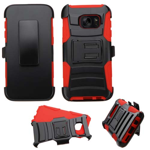 Red Armor Hybrid Case + Holster for Samsung Galaxy S7