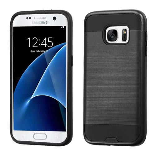 Black Brushed Series Hybrid Case for Samsung Galaxy S7