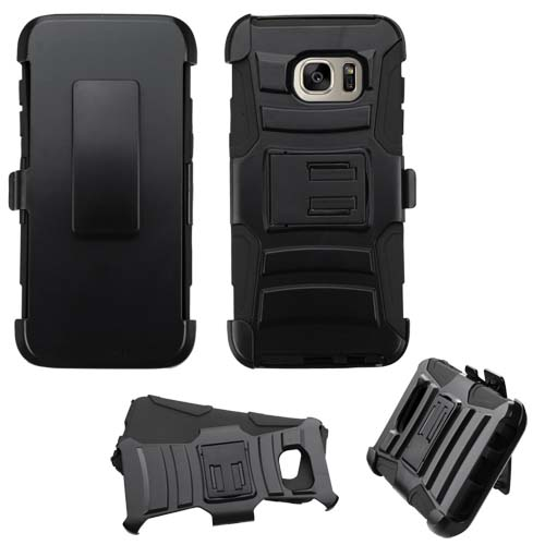 Black Armor Hybrid Case + Holster for Samsung Galaxy S7 Edge