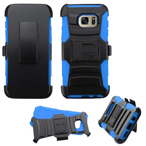 Blue Armor Hybrid Case + Holster for Samsung Galaxy S7 Edge