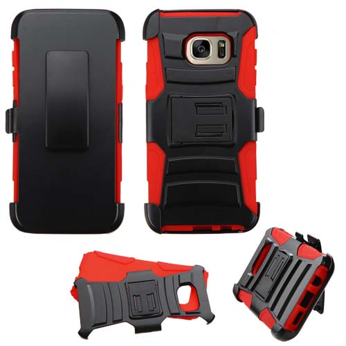 Red Armor Hybrid Case + Holster for Samsung Galaxy S7 Edge