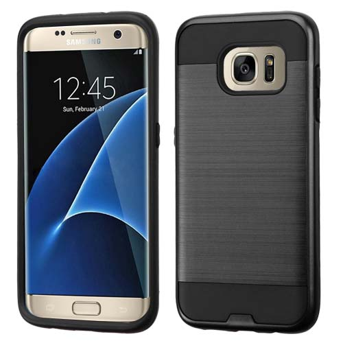 Black Brushed Series Hybrid Case for Samsung Galaxy S7 Edge