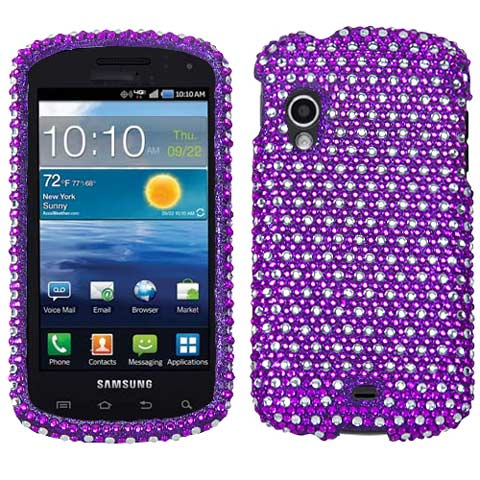 Purple Dots  Crystal Rhinestones Bling Case for Samsung Stratosphere