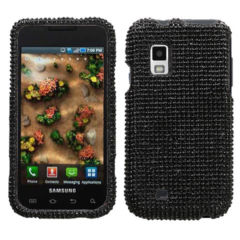 Black Crystal Rhinestones Bling Case for Samsung Mesmerize