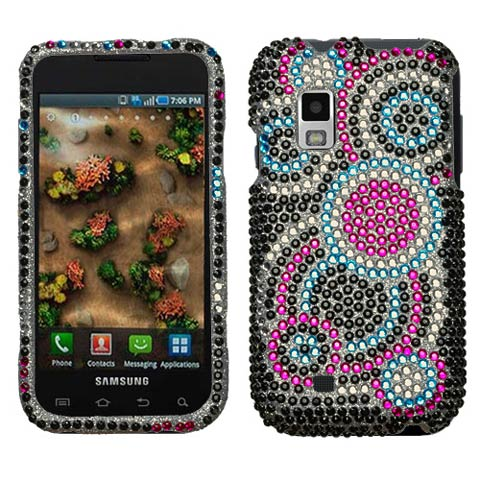 Blue Circles Crystal Rhinestones Bling Case for Samsung Mesmerize