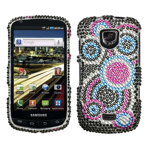 Blue Circles Crystal Rhinestones Bling Case for Samsung Droid Charge