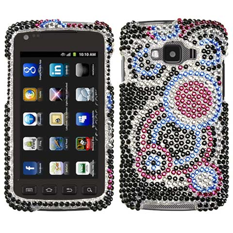 Blue Circles Crystal Rhinestones Bling Case for Samsung Rugby Smart