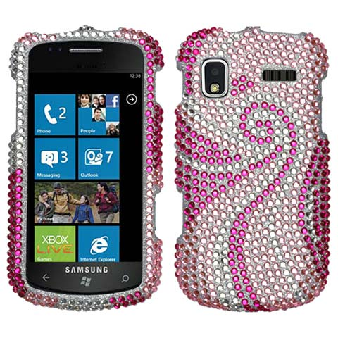 Pink Swirl Crystal Rhinestones Bling Case for Samsung Focus