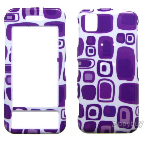 Samsung Instinct M800 Hard Cover Case - Purple Squares