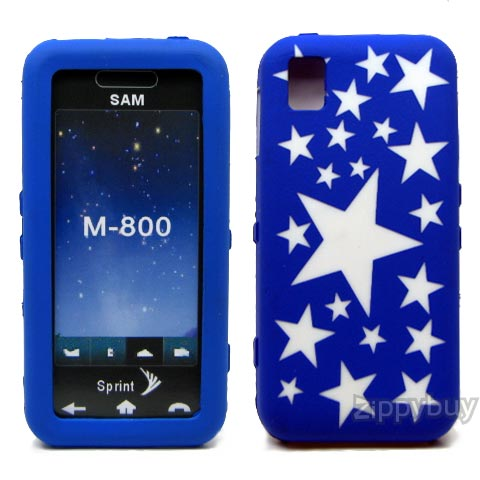 Samsung Instinct M800 Silicone Skin Cover Case - Blue With Stars