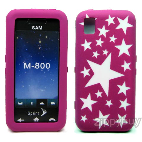 Samsung Instinct M800 Silicone Skin Cover Case - Hot Pink With Stars