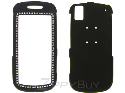 Samsung Instinct s30 SPH-M810 Rubberized Hard Cover Case - Black Crystal Bling