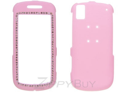 Samsung Instinct s30 SPH-M810 Rubberized Hard Cover Case - Pink Crystal Bling