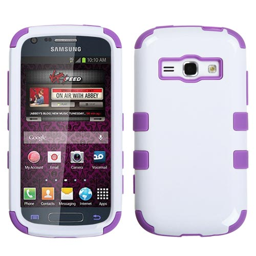 Purple and White Synergy Hybrid Case for Samsung Galaxy Prevail 2