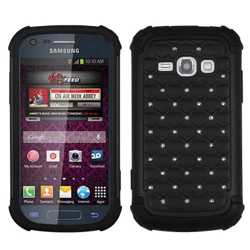 Black Dazzler Defense Dual Layer Hybrid Case for Samsung Galaxy Prevail 2