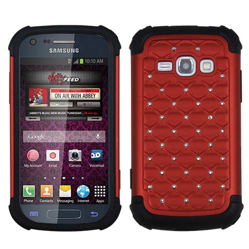 Red Dazzler Defense Dual Layer Hybrid Case for Samsung Galaxy Prevail 2