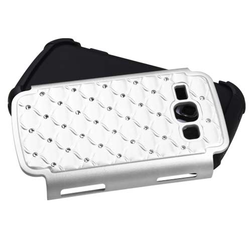 White Dazzler Defense Dual Layer Hybrid Case for Samsung Galaxy Prevail 2