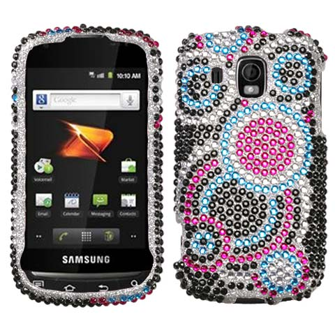 Blue Circles Crystal Rhinestones Bling Case for Samsung Transform Ultra