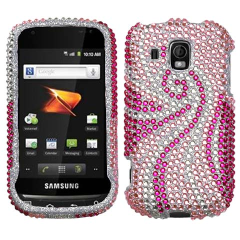 Pink Swirl Crystal Rhinestones Bling Case for Samsung Transform Ultra
