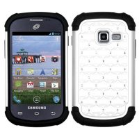 White Dazzler Defense Dual Layer Hybrid Case for Samsung Galaxy Centura