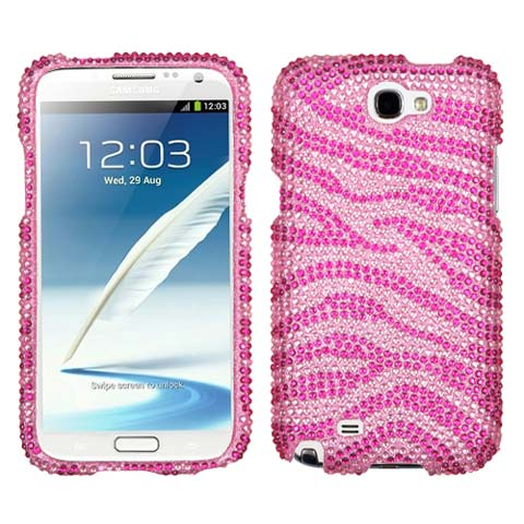 Pink Zebra Crystal Rhinestones Bling Case for Samsung Galaxy Note II