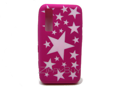 Samsung Behold T919 Silicone Skin Cover Case - Hot Pink With Stars