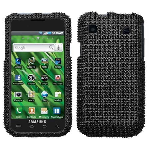 Black Crystal Rhinestones Bling Case for Samsung Galaxy S 4G