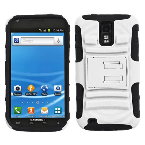 White Hybrid Armor Case for Samsung Galaxy S II