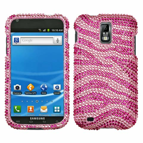 Pink Zebra Crystal Rhinestones Bling Case for Samsung Galaxy S II (T-Mobile)