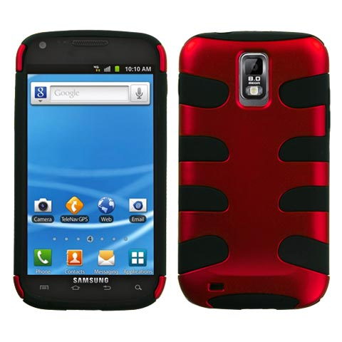 Red on Black Hybrid Fishbone Case for Samsung Galaxy S II (T-Mobile)