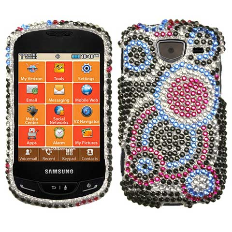 Blue Circles Crystal Rhinestones Bling Case for Samsung Brightside
