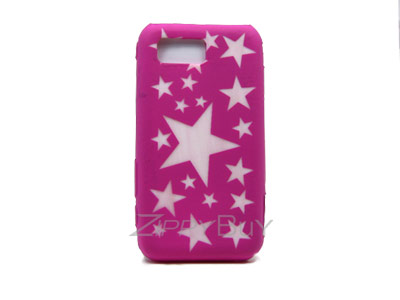 Samsung Omnia SCH-i910 Silicone Skin Cover Case - Hot Pink With Stars