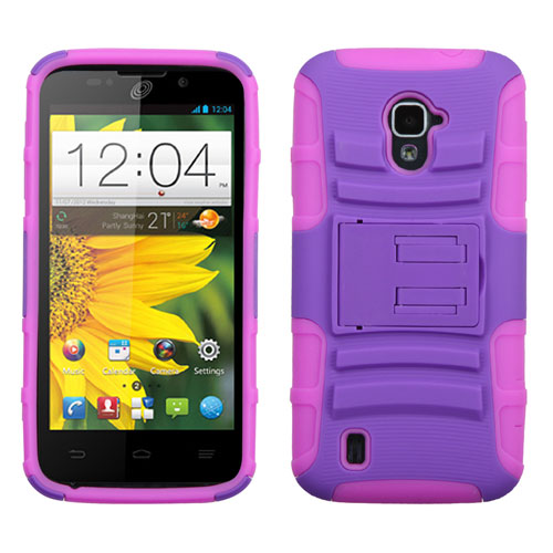 Purple on Pink Armor Dual Layer Hybrid Case for ZTE Source