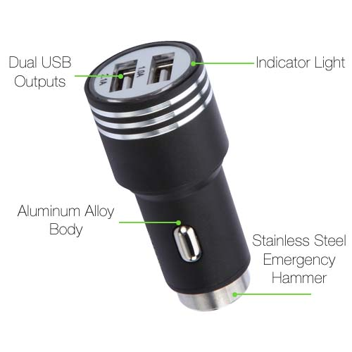 Black Alloy Metal Car Charger for LG G7 ThinQ