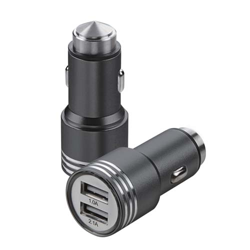 Black Alloy Metal Car Charger for LG V40 ThinQ