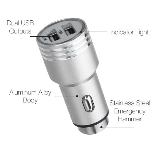 Silver Alloy Metal Car Charger for Apple iPhone XR