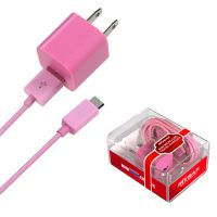 Pink Mini Micro USB Home / Travel Charger for Samsung Mythic