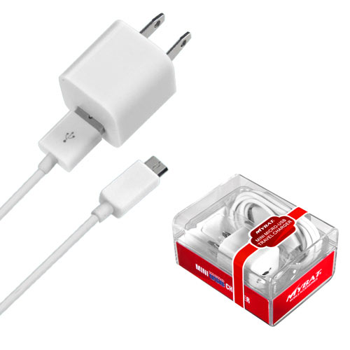 White Mini Micro USB Home / Travel Charger for Motorola ZINE